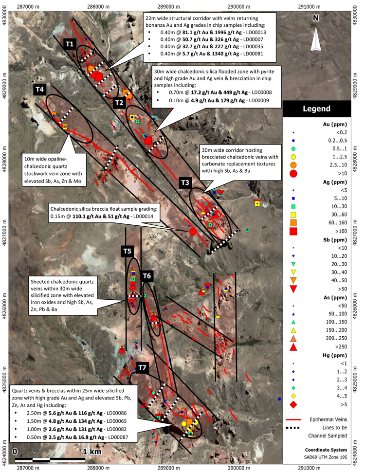 Los Domos Gold-Silver Geochemical Sampling Results Map