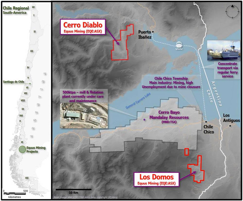 Location of the Cerro Bayo-Los Domos and Cerro Diablo Projects